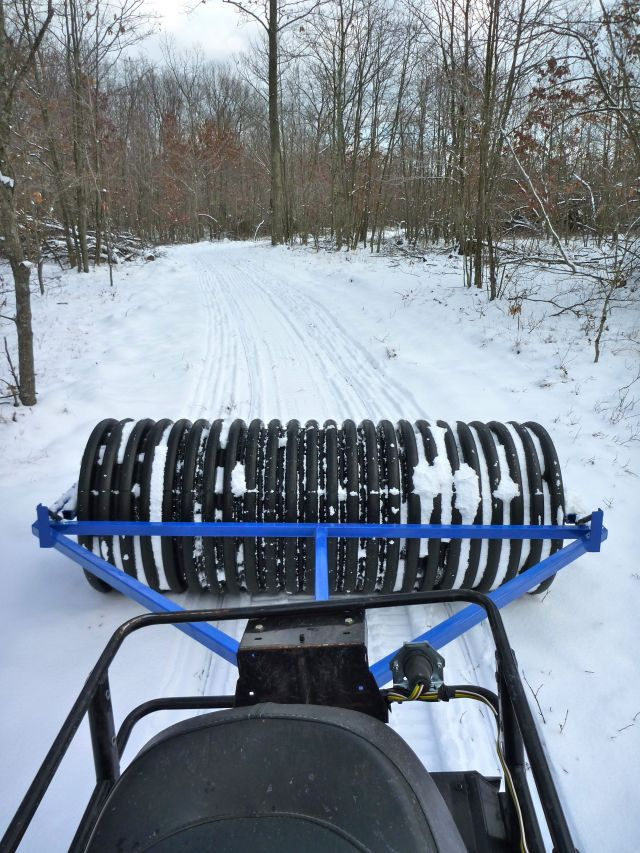 View of roller and trail from sled